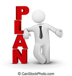conceito, palavra, negócio, apresentando, homem, 3d, plano