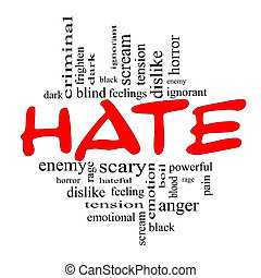 conceito, palavra, nuvem preta, ódio, vermelho