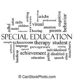 conceito, palavra, nuvem preta, branca, educação, especiais
