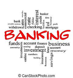 conceito, palavra, &, operação bancária, preto vermelho, nuvem
