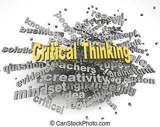 conceito, palavra, pensando, imagem, crítico, edições, fundo, nuvem, 3d