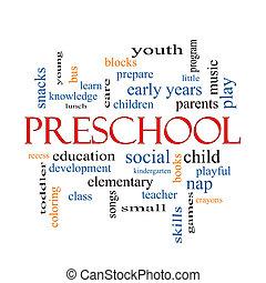 conceito, palavra, pré-escolar, nuvem