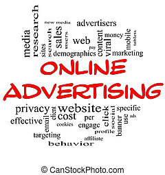 conceito, palavra, &, pretas, anunciando, online, nuvem, vermelho