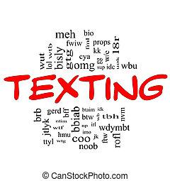 conceito, palavra, &, texting, preto vermelho, nuvem