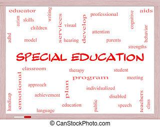conceito, palavra, whiteboard, especiais, educação, nuvem