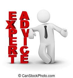 conceito, perito, negócio, apresentando, advicet, homem, 3d