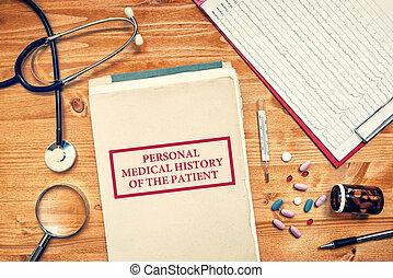 conceito, pessoal, médico, paciente, cuidados de saúde, história