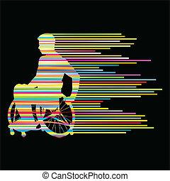 conceito, pessoas, cartaz, cadeira rodas, listras, incapacitado, vetorial, fundo, feito, homem
