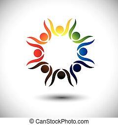 conceito, pessoas, celebrando, vivamente, crianças, também, partido, círculo, excitado, dançar, coloridos, friendship., tocando, crianças, amigos, representa, escola, gráfico, pessoas, empregados, vetorial, ou