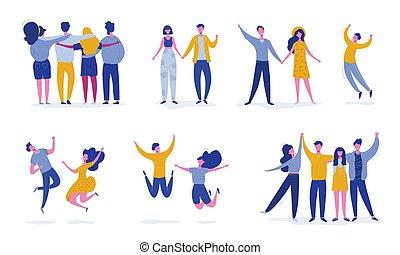 conceito, pessoas, dança, modernos, jogo, femininas, partido, adolescentes, jovem, characters., caráteres, amigo, feliz, ilustração, pular, students., desporto, vetorial, equipe, elegante, macho, amizade