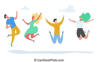 conceito, pessoas, dança, modernos, jogo, femininas, partido, adolescentes, jovem, experiência., caráteres, branca, feliz, ilustração, pular, students., desporto, vetorial, equipe, elegante, macho, amizade