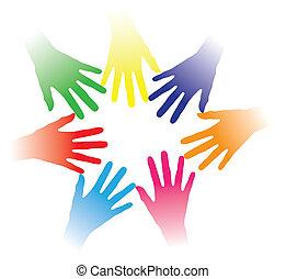 conceito, pessoas, outro, comunidade, segurado, ligar, sociedade, grupo, networking, indicar, coloridos, equipe, ilustração, mãos ajuda, pessoas, junto, multiracial, cada, espírito, etc., social