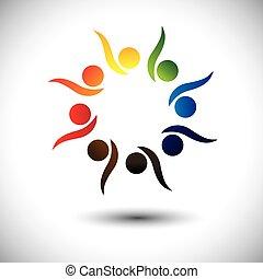 conceito, pessoas, vivamente, aprendizagem, fun., crianças, &, jardim infância, também, círculo, excitado, dançar, coloridos, tocando, gráfico, representa, escola brinca, pessoas, empregados, ou, vetorial, tendo