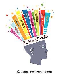 conceito, psicologia, pensando, positivo, ilustração, sentimentos, optimista