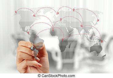 conceito, rede, trabalhando, mostrar, modernos, mão, computador, homem negócios, novo, estrutura, social