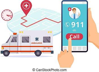 conceito, service., emergência, hospitalar, urgente, vetorial, chamada, ambulância, 911