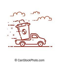 conceito, shopping, ilustração, entrega, vetorial, servicein, linha, style., ícone