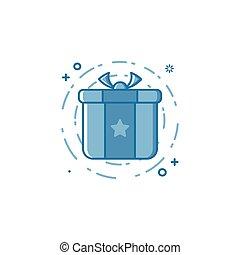 conceito, shopping, presente, ilustração, ou, vetorial, generosidade, linha, style., ícone