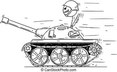 conceito, tank., caricatura, soldado, jogo, pequeno, guerra