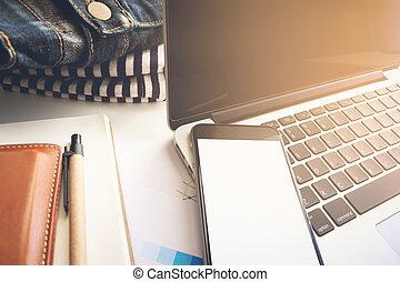 conceito, tom, área negócio, vindima, trabalho, foco, mapa, seletivo, ter, laptop, smartphone.