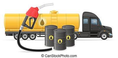 conceito, transporte, semi, ilustração, entrega, vetorial, caminhão, reboque, combustível, transporte