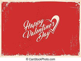 conceito, valentines, desenho, retro, dia, cartão