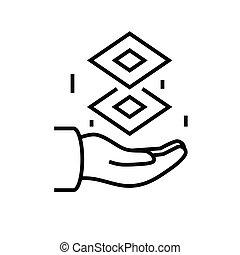 conceito, vetorial, ilustração, esboço, sinal, símbolo., ícone, apoio, linear, linha