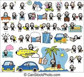 conceitos, vetorial, senhora, ilustrações, freira, -, personagem, jogo, caricatura
