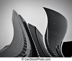 conceitual, abstratos, arranha-céus, negócio, arquitetura