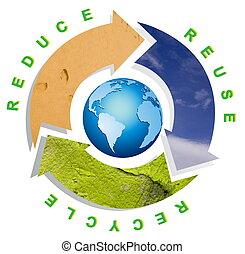 conceitual, símbolo, reciclagem