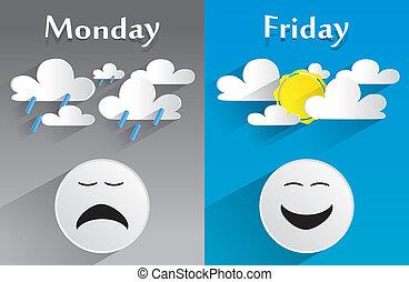 conceitual, sentimento, segunda-feira, sexta-feira
