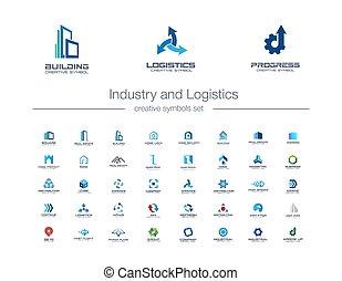 concept., ícones, logotipo, predios, engenharia, símbolos, construção, transporte, abstratos, set., criativo, logística, casa, indústria, negócio
