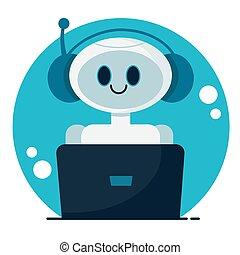 concept., apartamento, apoio, cute, conversa, robô, serviço, sorrindo, caricatura, vetorial, bot., ilustração