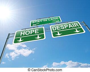 concept., desespero, ou, esperança