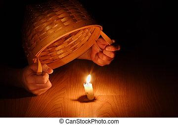 concept-hiding, (biblical, luz, sob, brilhar, seu, alqueire