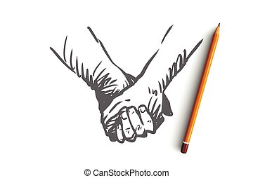 concept., mão, sociedade, junto, amor, amizade, isolado, mãos, desenhado, vector.