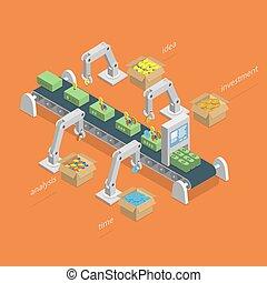 concept., processo, fazer, isometric, dinheiro