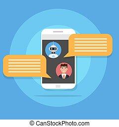 concept., vetorial, serviço, bot, icon., robô, apoio, conversa, conversando, style., apartamento, ilustração