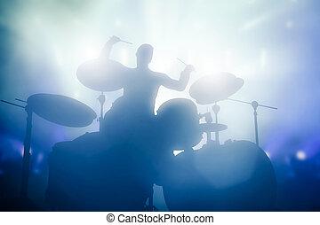 concert., clube, luzes, baterista, música, tambores, tocando
