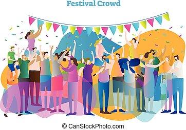concerto, flor, grupo, illustration., torcida, entretenimento, festival, meninas, homens, coroa, dança, ventiladores, vetorial, massa, baterpalmas, espectadores, vista, ou, celebration., shoulder.