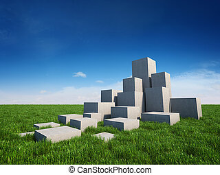 concreto, abstratos, cubos, escadas