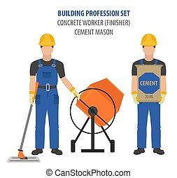concreto, apartamento, set., trabalhador, uniforme, ícone, ocupação, ferramentas, mason`s, projete profissão, equipamento
