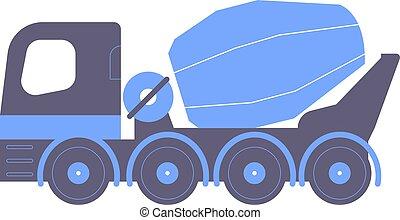 concreto, azul, mixer.