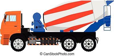 concreto, isolado, misturador, experiência., vetorial, branca, truck.