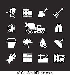 concreto, jogo, cimento, ícones