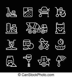 concreto, linha, jogo, ícones