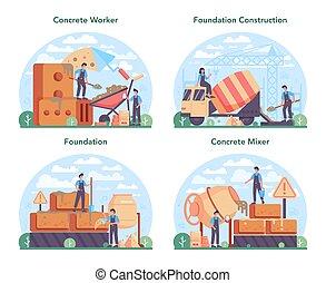 concreto, profissional, preparar, construtor, conceito, set., trabalhador