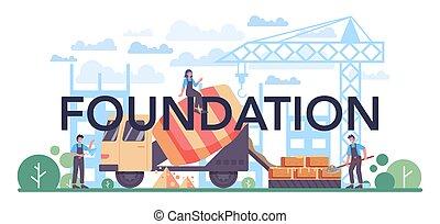 concreto, profissional, preparar, construtor, tipográfico, header., fundação