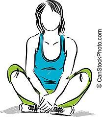 condicão física, baixo, relaxado, sentando, vetorial, mulher, ilustração
