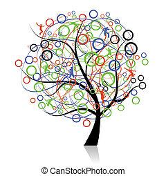 conectando, povos, árvore, teia